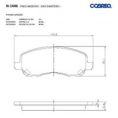 Pastilha de freio dianteira Compass Airtrek ASX Eclipse Galant Lancer Outlander Sebring Stratus Avenger Caliber Cobreq N-1446