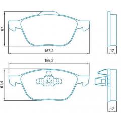 Pastilha de freio dianteira Ecosport Focus Jurid HQJ-3011PA