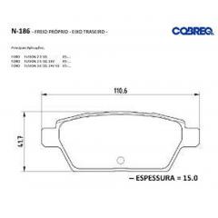 Pastilha de freio traseira Fusion Cobreq N-186