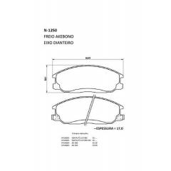 Pastilha de freio H1 Santa Fé XG 300 XG 350 Actyon Kyron Rexton Cobreq N-1250