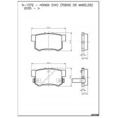 Pastilha de freio traseira Accord Civic Integra Legend NSX Prelude Shuttle Stream Accent SX4 Cobreq N-1372