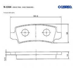 Pastilha de freio traseira Corolla Cobreq N-1334