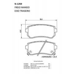 Pastilha de freio traseira I30 IX35 Tucson Sportage Sonata Cerato Rio Cobreq N-1259